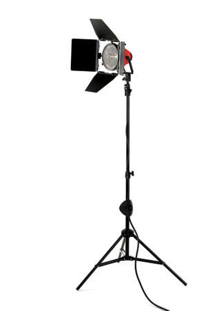 halogen lighting: Redhead stage light with barndoors on a stand isolated on a white background Stock Photo
