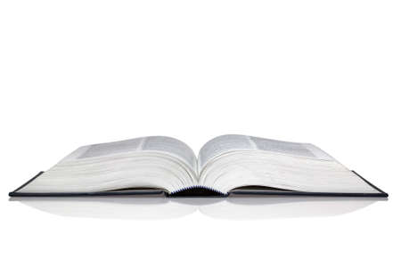 An open hardback book with reflection isolated on a white background. Stock Photo - 4058383