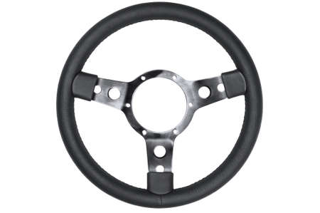 spoke: Black leather retro steering wheel isolated on a white background. Stock Photo