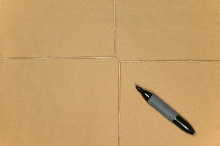 marker pen: Blank brown paper parcel tied up with string and a marker pen.