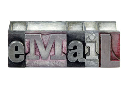 The word eMail in old letterpress printing blocks isolated on a white background. Stock Photo - 4113483
