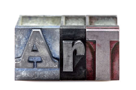 The word Art in old letterpress printing blocks isolated on a white background. Stock Photo - 4124499