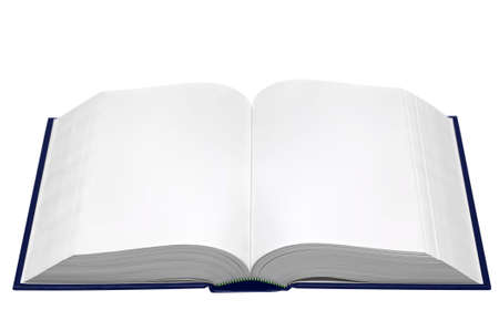 single story: A hardback book opened with blank pages isolated on a white background. Stock Photo