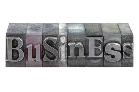 The word Business in old letterpress printing blocks isolated on a white background. Stock Photo - 4145677