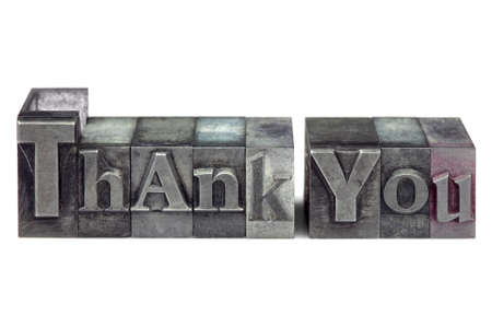 letterpress blocks: The words Thank You in old letterpress printing blocks isolated on a white background. Stock Photo