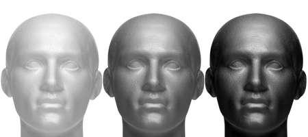 Trois têtes de mannequin en blanc noir et gris, isolé sur un fond blanc.
