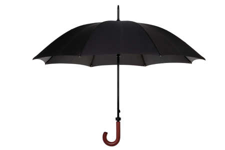 An open black umbrella with wooden handle isolated on a white background. Stock Photo - 4376997