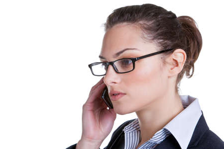 phonecall: Attractive businesswoman making a phonecall, isolated on white background. Stock Photo