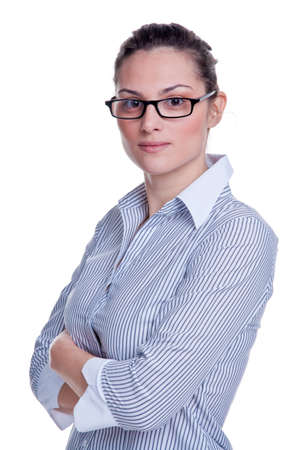 Portrait of an attractive businesswoman wearing a striped shirt with her arms folded, isolated on white background. Stock Photo - 4567808