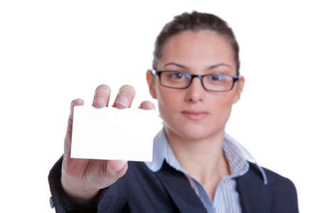Portrait of a businesswoman presenting her business card, focus on card, isolated on white background Stock Photo - 4603961