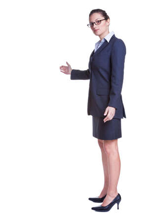 Businesswoman with her arm out in a welcoming gesture, isolated on white background. Stock Photo - 4905954