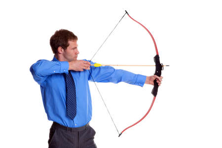 Businessman with a bow and arrow, side view, isolated on white background. photo