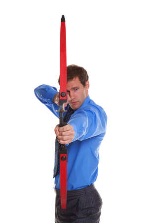 Businessman with a bow and arrow aiming at camera, isolated on white background. Stock Photo - 4905957