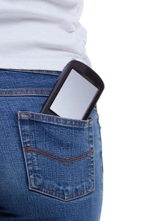 Smartphone with blank screen sticking out of the back pocket in a females jeans
