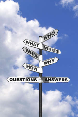 who: Concept image of the six most common questions and answers on a signpost.
