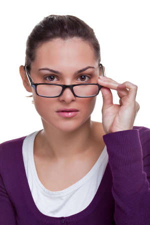 Beautiful brunette woman wearing black framed glasses, white background. Stock Photo - 5662995