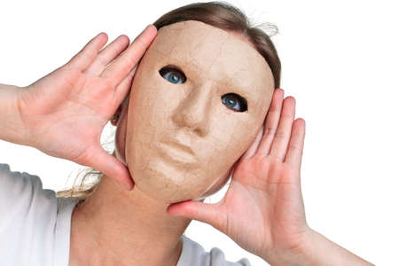 presure: Woman wearing a mask against a white background