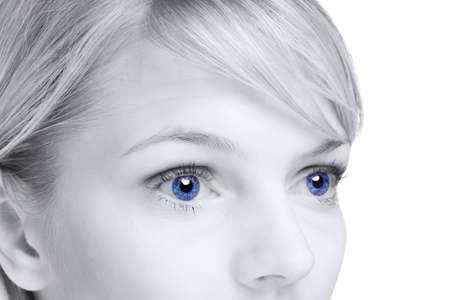 shinning light: Abstract image of a blond woman with blue eyes. Stock Photo