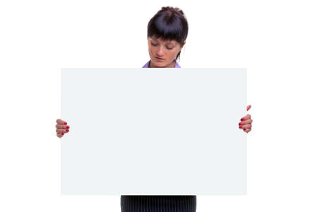 Woman looking down at a sign she is holding, blank for you to add your own message or image. Stock Photo - 5663003