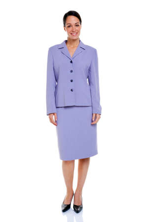 Attractive businesswoman wearing a lilac coloured skirt suit, isolated on a white background. Stock Photo - 5663010