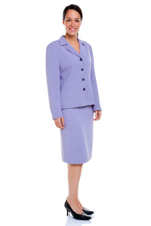 Attractive businesswoman wearing a lilac coloured skirt suit, isolated on a white background. Stock Photo - 5662991