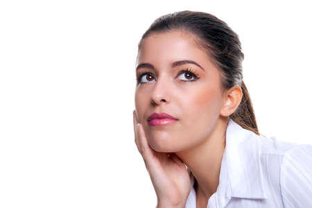 Attractive brunette businesswoman thinking about something, white background. Stock Photo - 5840833