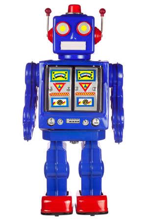 juguetes antiguos: Un viento de cosecha de esta�o robot con sus brazos a su lado, aislado en un fondo blanco. Foto de archivo