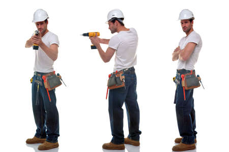 Three shots of a builder in different poses, wearing a tool belt and safety hat, isolated on a white background.