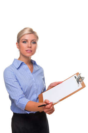 Blond woman holding a clipboard with blank paper on offering a pen, cut out white background. Stock Photo - 6444131