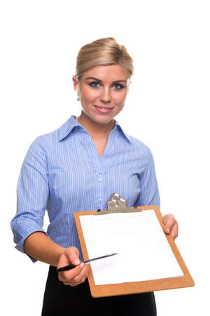 customer survey: Blond woman holding a clipboard with blank paper on offering a pen, cut out white background.