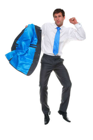businessman jumping in the air holding his suit jacket, isolated on a white background Stock Photo - 7056824