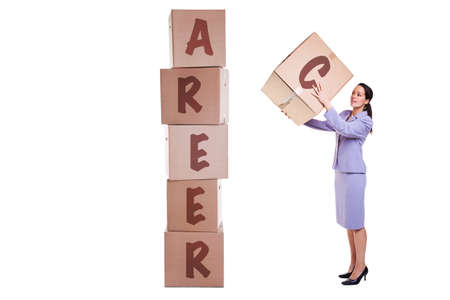 stacking: Building a new career concept image, a businesswoman stacking boxes with the letters that spell out CAREER, isolated on a white background.