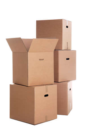 out of the box: A stack of cardboard boxes isolated on a white background. Stock Photo