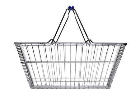 baskets: Wire shopping basket isolated on a white background. Stock Photo