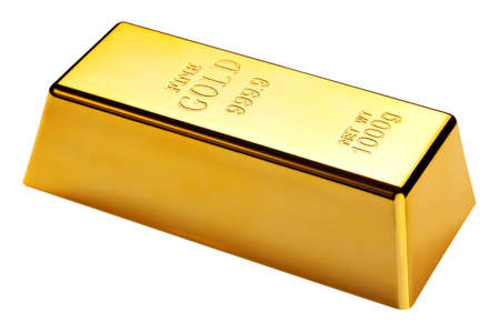 gold bar: 1kg gold bar isolated on a white background  Stock Photo