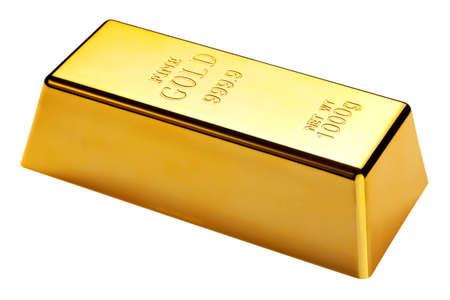 lingotes de oro: barra de 1 kg de oro aislado en un fondo blanco  Foto de archivo