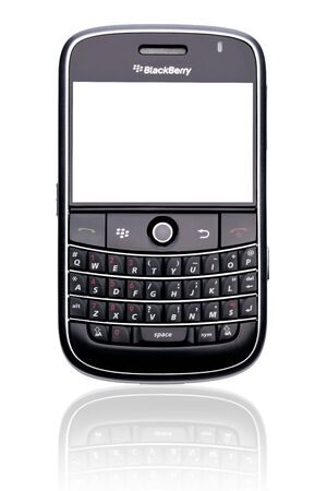 A Blackberry Bold 9000 smartphone, isolated on white with clipping paths for both phone and screen. Redakční