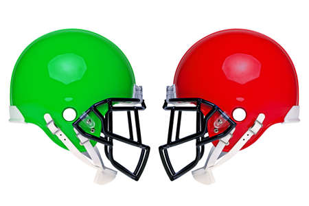 football object: two American football helmets isolated on a white background. Stock Photo