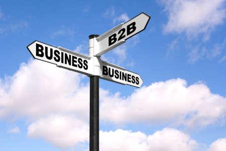 b2b: Imagen conceptual de una se�al blanca y negro con las palabras de B2B Business 2 Business contra un cielo nublado azul.