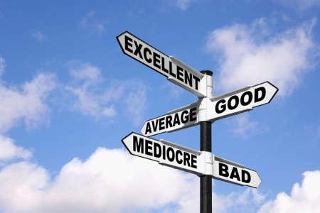 grading: Poste indicador con las palabras de excelente, bien, promedio, Mediocre y Bad contra un cielo nublado azul.