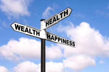 Poste indicador de blanco y negro con las palabras de salud, la riqueza y la felicidad contra un cielo nublado azul.