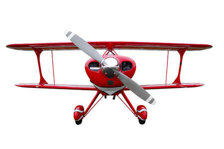 biplane: A red biplane isolated on a white background.