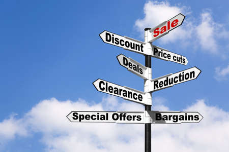 bargaining: Black and white signpost with the words Sale, Discount, Price cuts, Deals, Reduction, Clearance, Special offers and Bargains against a blue cloudy sky. Good image for retail themes.
