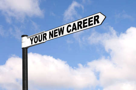 Vacancies: Concept image of a black and white signpost with the words Your New Career against a blue cloudy sky.