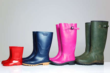 gumboots: A group of wellie boots  Stock Photo