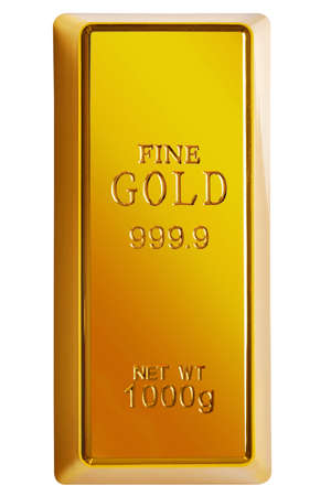 lingotes de oro: Foto de una barra de 1 kg de oro aislada en un fondo blanco  Foto de archivo