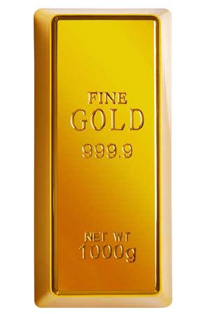Foto di una barra di 1 kg di oro isolata su uno sfondo bianco