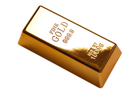 Photo of a 1kg gold bar isolated on a white background