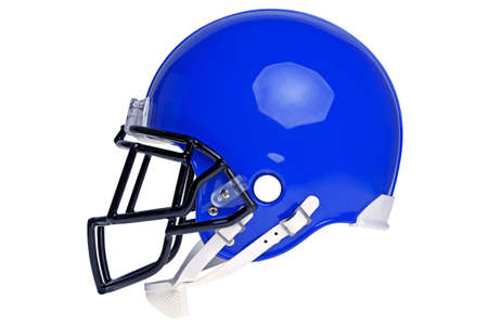 blue helmet: A blue American football helmet isolated on a white background  Stock Photo