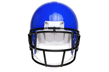 blue helmet: Photo of a blue American football helmet isolated on a white background